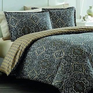 City Scene Milan Charcoal Cotton Reversible 3-piece Comforter set