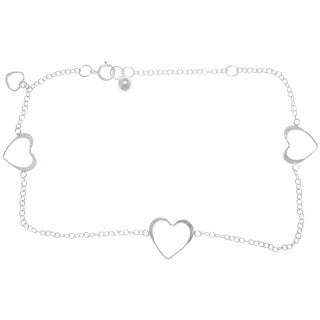 CGC Sterling Silver Open Hearts Dangle Anklet