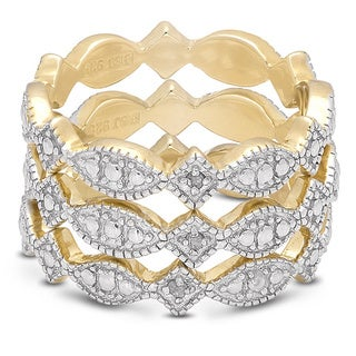 Finesque Gold Over Sterling Silver Diamond Accent 3-band Ring