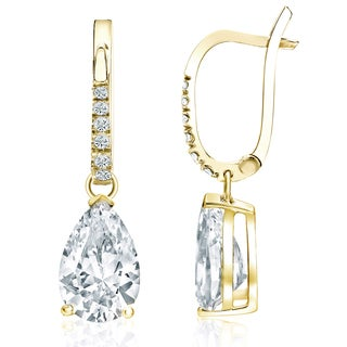 Auriya 18k Yellow Gold 2 1/10ct TDW Pear Shape Diamond Dangle Earrings (H, VS2)