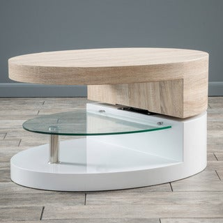 Christopher Knight Home Small Oval Mod Rotatable Coffee Table with Glass