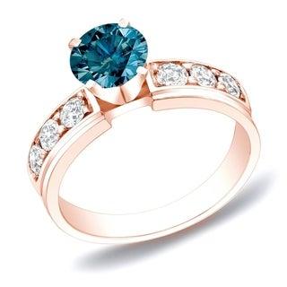 Auriya 14k Rose Gold 1ct TDW Blue Round Diamond Ring (SI1-SI2)