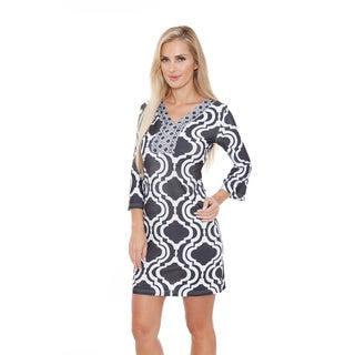 White Mark Women's 'Augusta' Moroccan Print Dress