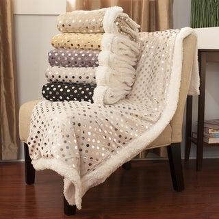 Luxurious Silver Polka Dot Throw Blanket
