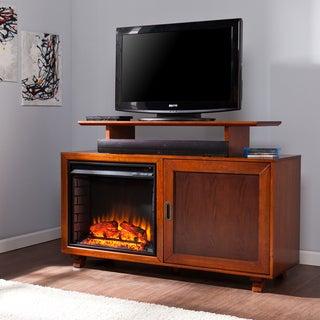 Upton Home Hayes Walnut and Espresso Media Fireplace
