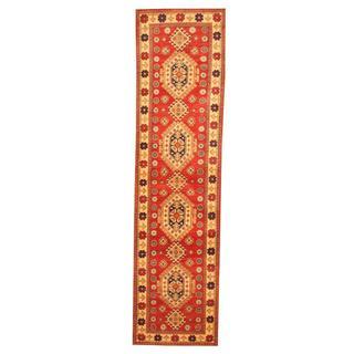 Herat Oriental Afghan Hand-knotted Tribal Kazak Red/ Ivory Wool Rug (2'6 x 9'8)