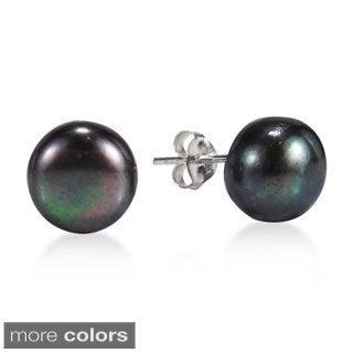 Elegant Round Black Pearl Sterling Silver Stud Earrings (Thailand)