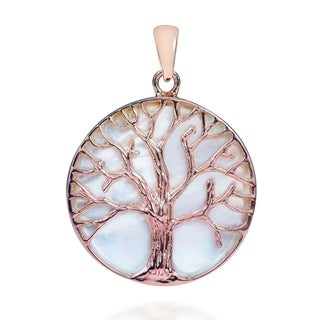 Tree of life MOP Pink Rose Gold Over .925 Silver Pendant (Thailand)