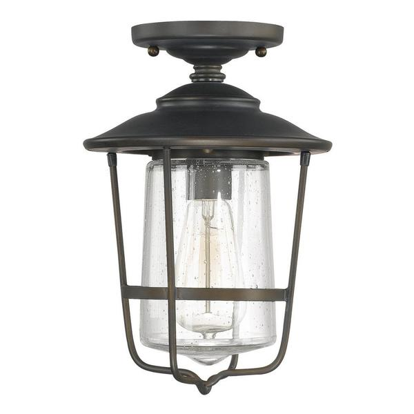 Creekside 1 light Outdoor Ceiling Flush Mount in Old