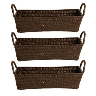 "Set of 3 -12.5"" ESPRESSO SEAGRASS-REED BASKET"