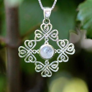 Sterling Silver Round Moonstone Shamrocks Design Necklace (Thailand)