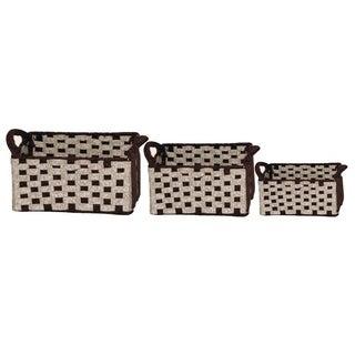 Two-toned Wool Felt Weave Baskets (Set of 3)