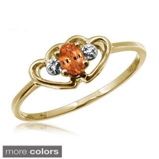 1/4ct TGW Mandarin Garnet Gemstone and Accent White Diamond Ring