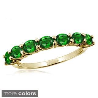 Oval-cut Chrome Diopside Gemstone Ring