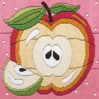 "Apple Starters Long Stitch Kit-6""X6"" Stitched In Cotton Floss"