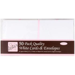 "Anita's Square Cards/Envelopes 5""X5"" 50/Pkg-White"