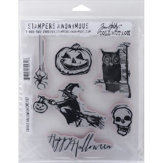 "Tim Holtz Cling Rubber Stamp Set 7""X8.5""-Carved Halloween"