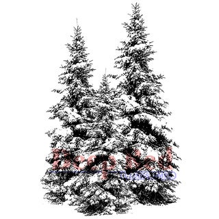 """Deep Red Cling Stamp 2""""X3""""-Winter Pines"""