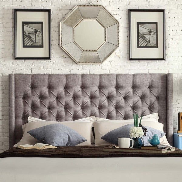 Inspire Q Naples Wingback Button Tufted Upholstered King