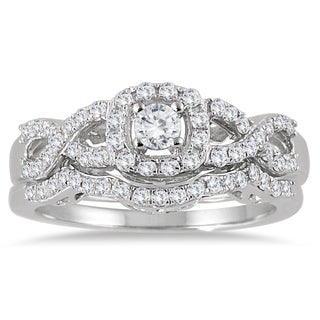 10k White Gold 3/4ct TDW Diamond Halo Bridal Ring Set (I-J, I1-I2)