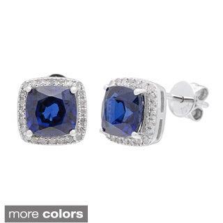 10k White Gold Cushion-cut Gemstone and 1/5ct TDW Genuine Diamond Earrings (G-H, I1-I2)