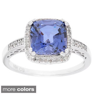 10k White Gold Sapphire, Ruby or Tanzanite 1/5ct TDW Genuine Diamond Ring (G-H, I1-I2)