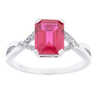 10k White Gold Ring Sapphire, Ruby or Tanzanite and 1/10ct TDW Genuine Diamond Ring (G-H, I1-I2)