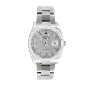 Pre-owned Rolex Men's Datejust 116200 Stainless Steel Silver Stick Watch