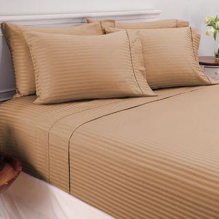 Damask Stripe Egyptian Cotton 450 Thread Count 6-piece Sheet Set