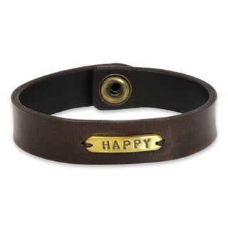 Handcrafted Leather Brass 'Happy' Men's Bracelet (Indonesia)