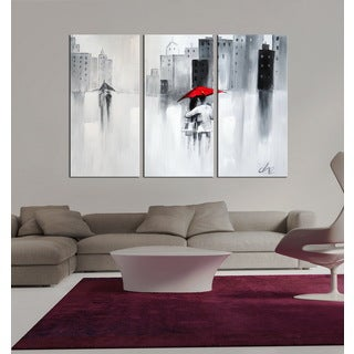 Hand-painted 'The Touch of Love' 3-piece Gallery-wrapped Canvas Art Set