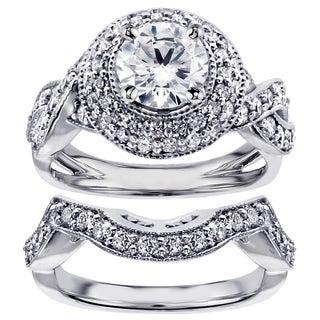 14k White Gold or Platinum 2 1/2ct TDW Pave Set Diamond Bridal Set (F-G, SI1-SI2)
