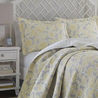 Laura Ashley Joy Grey/Yellow Reversible 3-piece Cotton Quilt Set