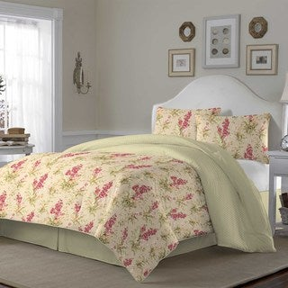 Laura Ashley Hannah Biscuit 4-piece Reversible Comforter Set