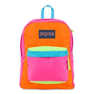 JanSport Fluotescent Pink Orange Team Super Break School Backpack
