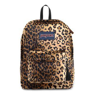 JanSport High Stakes Black/ Beige Plush Cheetah School Backpack