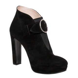 Prada Women's Black Suede Bucklestrap Platform Booties