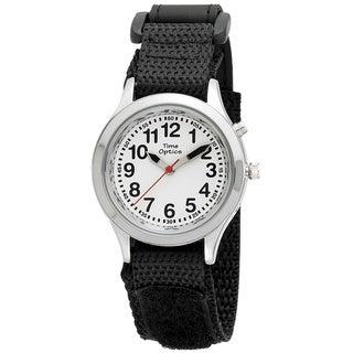 Kids' Talking Time Black Adjustable Strap Watch