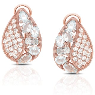 Dolce Giavonna Rose Gold Over Sterling Silver Blue Topaz and Cubic Zirconia Stud Earrings