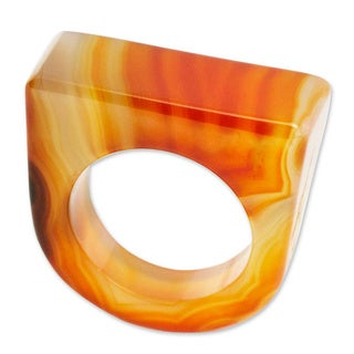 Handcrafted Agate 'Caramel Chic' Ring (Brazil)