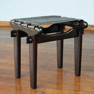 Handcrafted Cedar Wood Leather 'Colonial Throne' Stool (Peru)