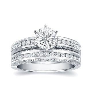 Auriya 14k White Gold 1 1/2ct TDW Certified Diamond Bridal Ring Set (H-I, SI1-SI2)