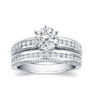 Auriya 14k White Gold 1 1/4ct TDW Certified Diamond Bridal Ring Set (H-I, SI1-SI2)