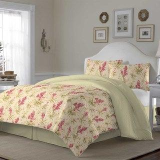 Laura Ashley Hannah Biscuit Cotton 3-piece Duvet Cover Set