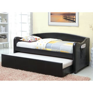 Furniture of America Vispia Modern Faux Leather Daybed with Trundle