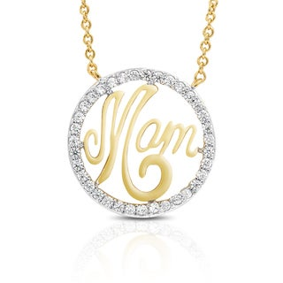 Dolce Giavonna Gold Overlay Cubic Ziconia 'Mom' Necklace