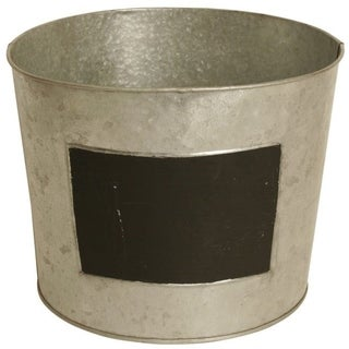 Set of 6 Round Galvanized Metal Planters with Chalkboard