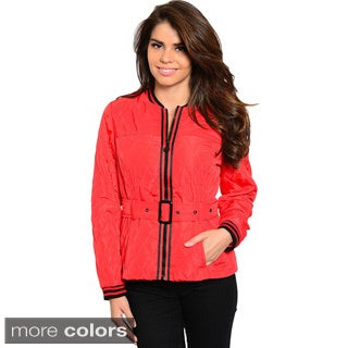 Shop The Trends Women's Belted Puffer Jacket With Striped Trim