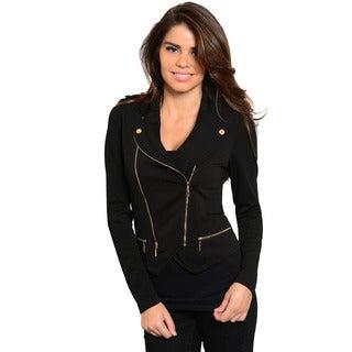 Shop The Trends Women's Long Sleeve Knit Jacket with Asymmetric Zipper