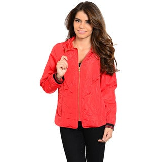 Shop The Trends Women's Long Sleeve Quilted Jacket with Drawstring Hoddie